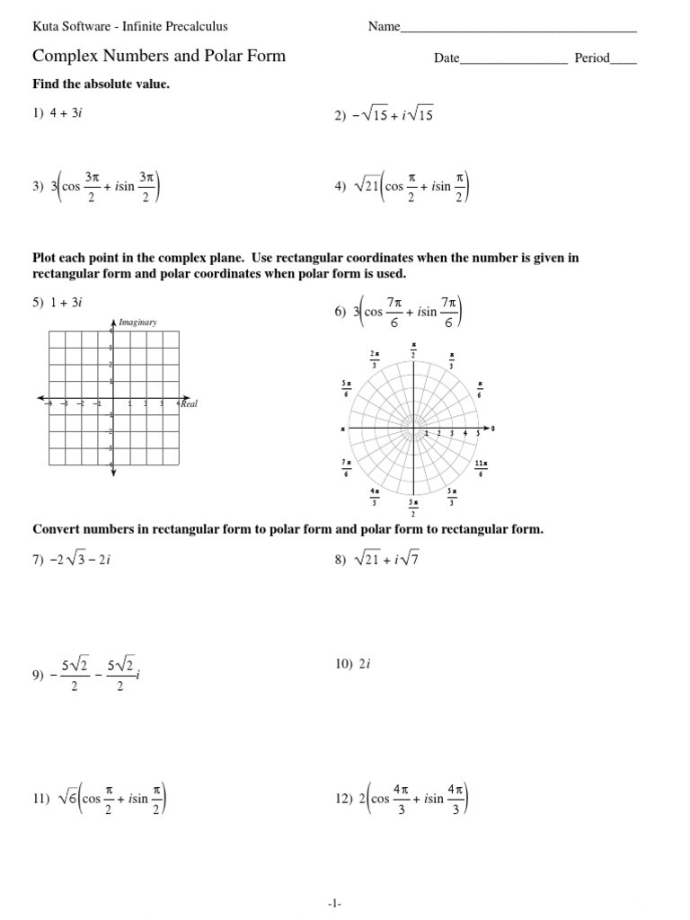 Complex Numbers Worksheet Pdf 06 Plex Numbers and Polar form