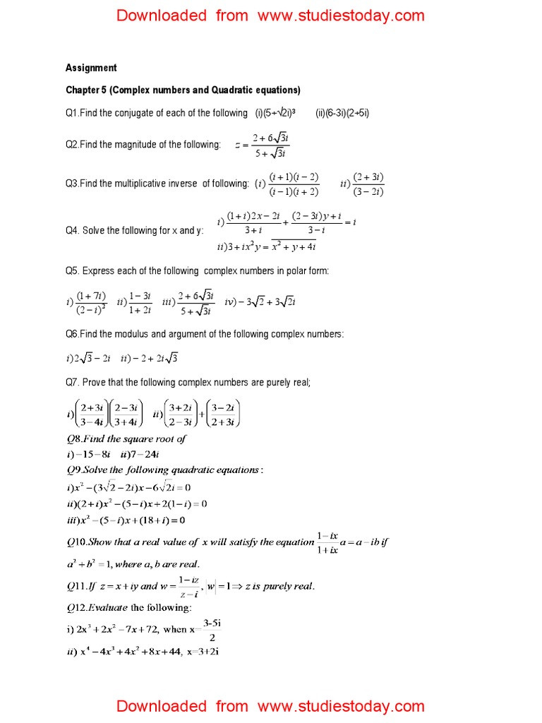 Complex Numbers Worksheet Pdf Cbse Class 11 assignment for Plex Numbers and Quadratic