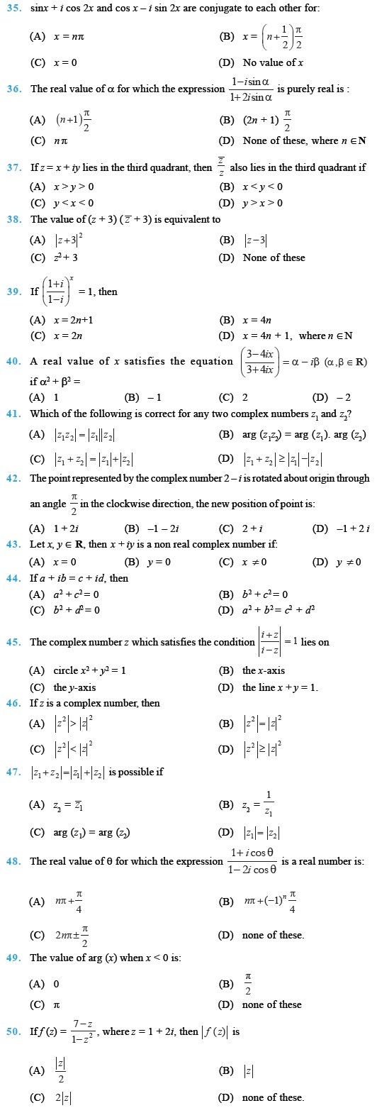 Complex Numbers Worksheet Pdf Class 11 Important Questions for Maths Plex Numbers and