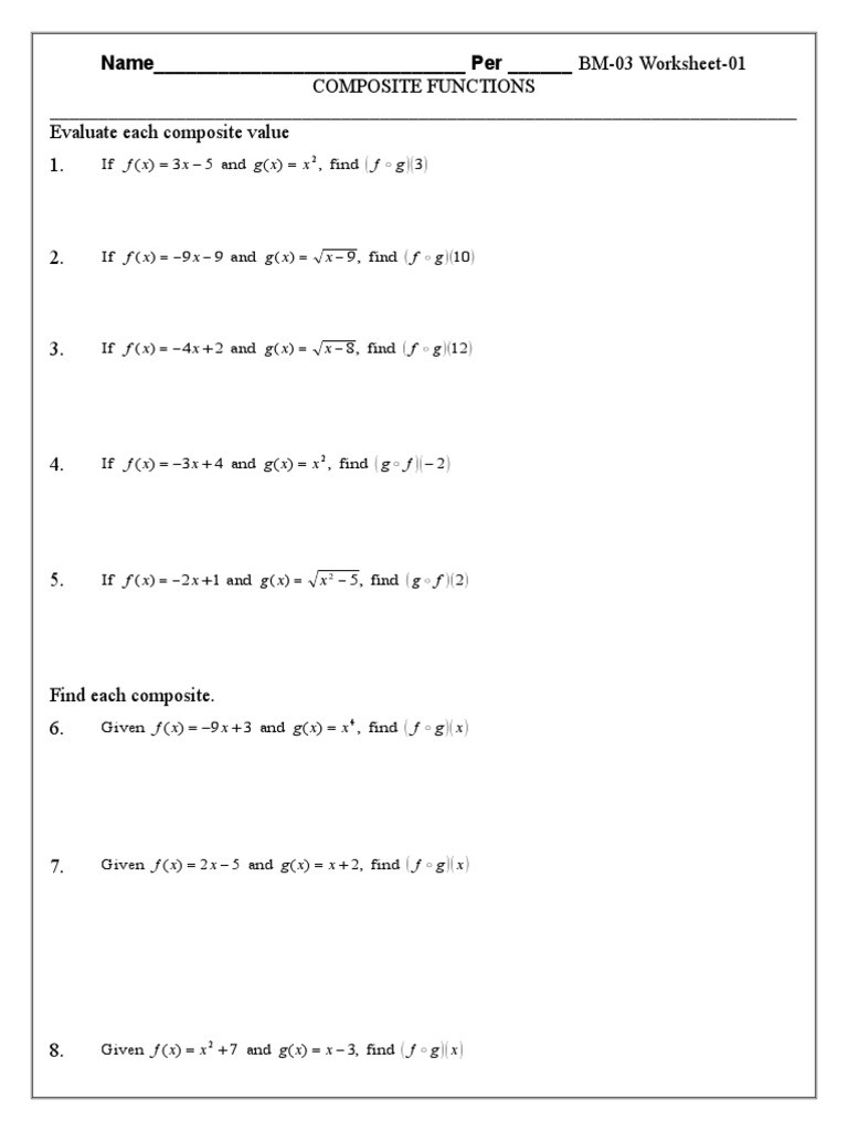 Composite Function Worksheet Answers 5 Bm 03 Posite Function Bm 03 Worksheet 02c