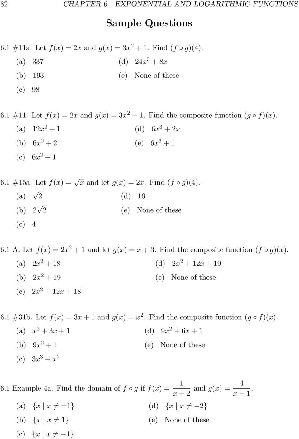 Composite Function Worksheet Answers Exponential and Logarithmic Functions Pdf Free Download