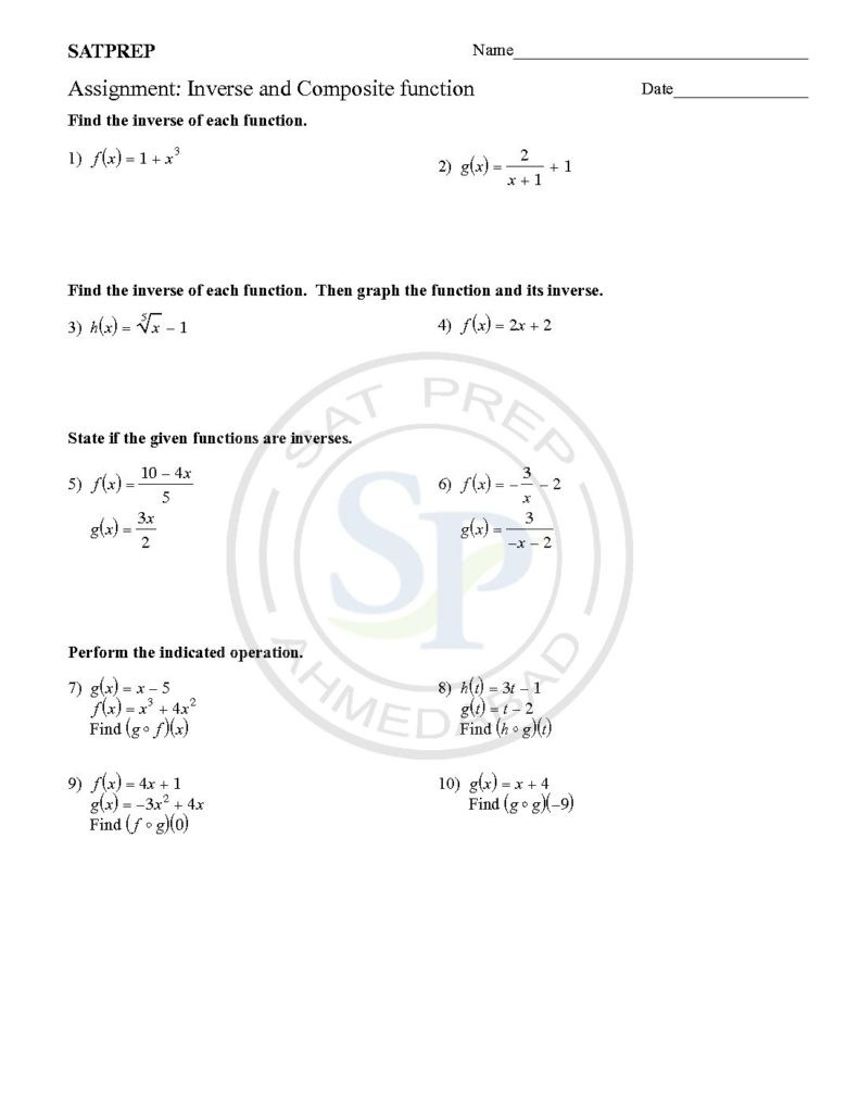 Composite Function Worksheet Answers Inverses and Posites are Two Important Concept Of Function