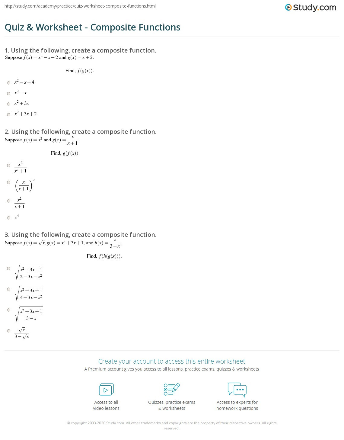 Composite Function Worksheet Answers Quiz & Worksheet Posite Functions
