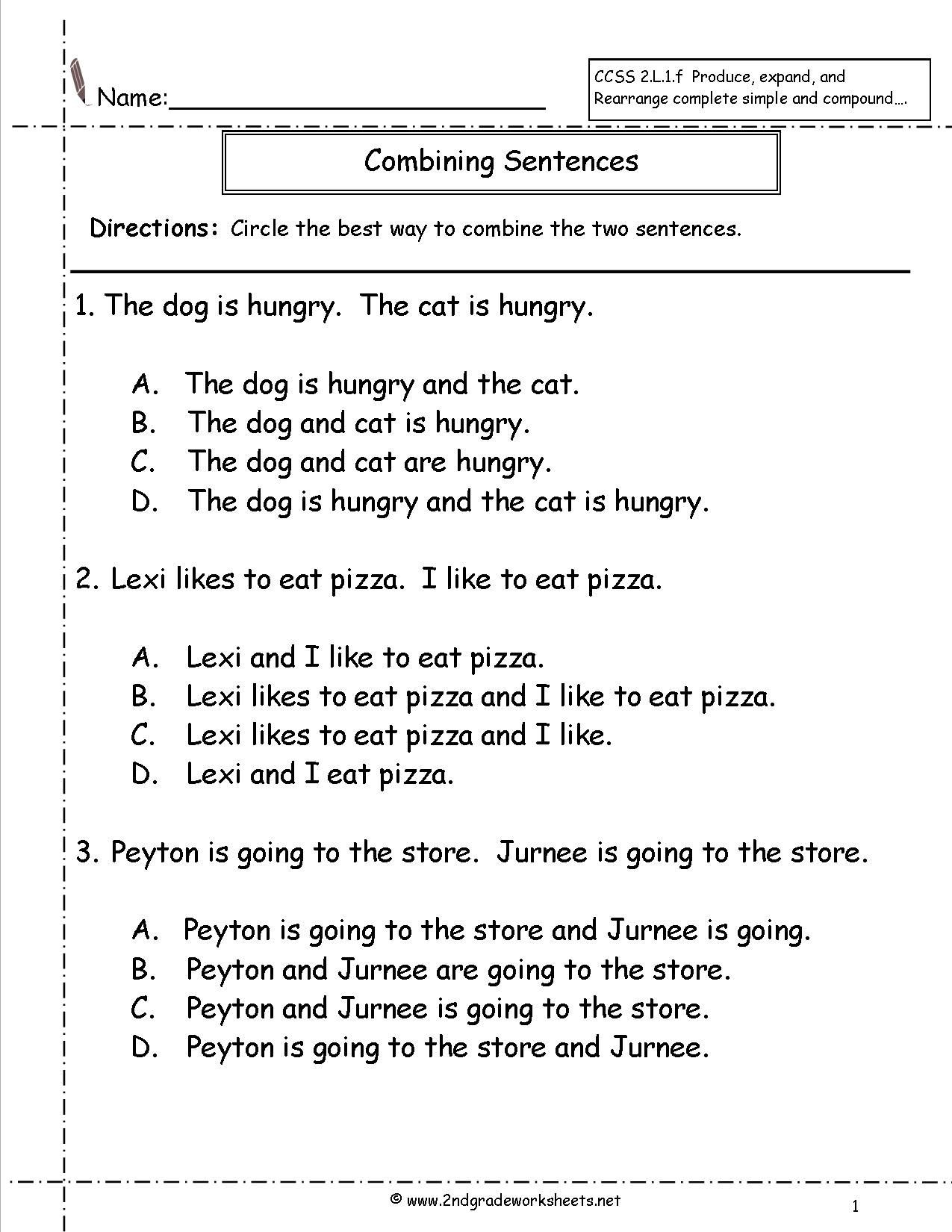 Compound Sentences Worksheet with Answers Bining Sentences Worksheet