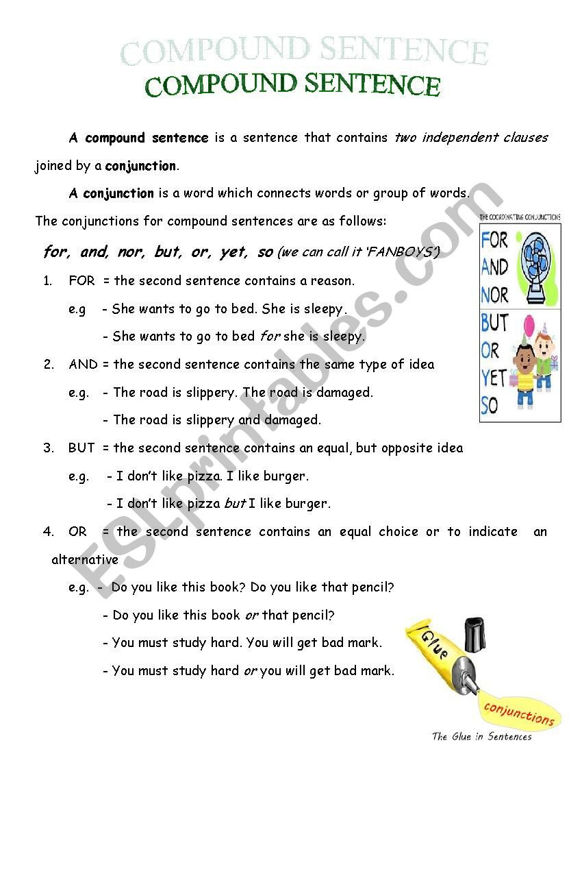 Compound Sentences Worksheet with Answers Pound Sentence Esl Worksheet by Riverz