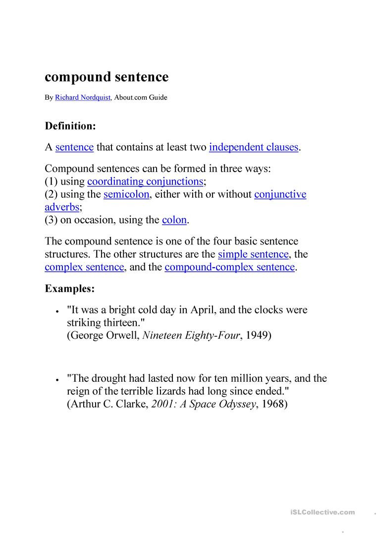 Compound Sentences Worksheet with Answers Pound Sentences English Esl Worksheets for Distance