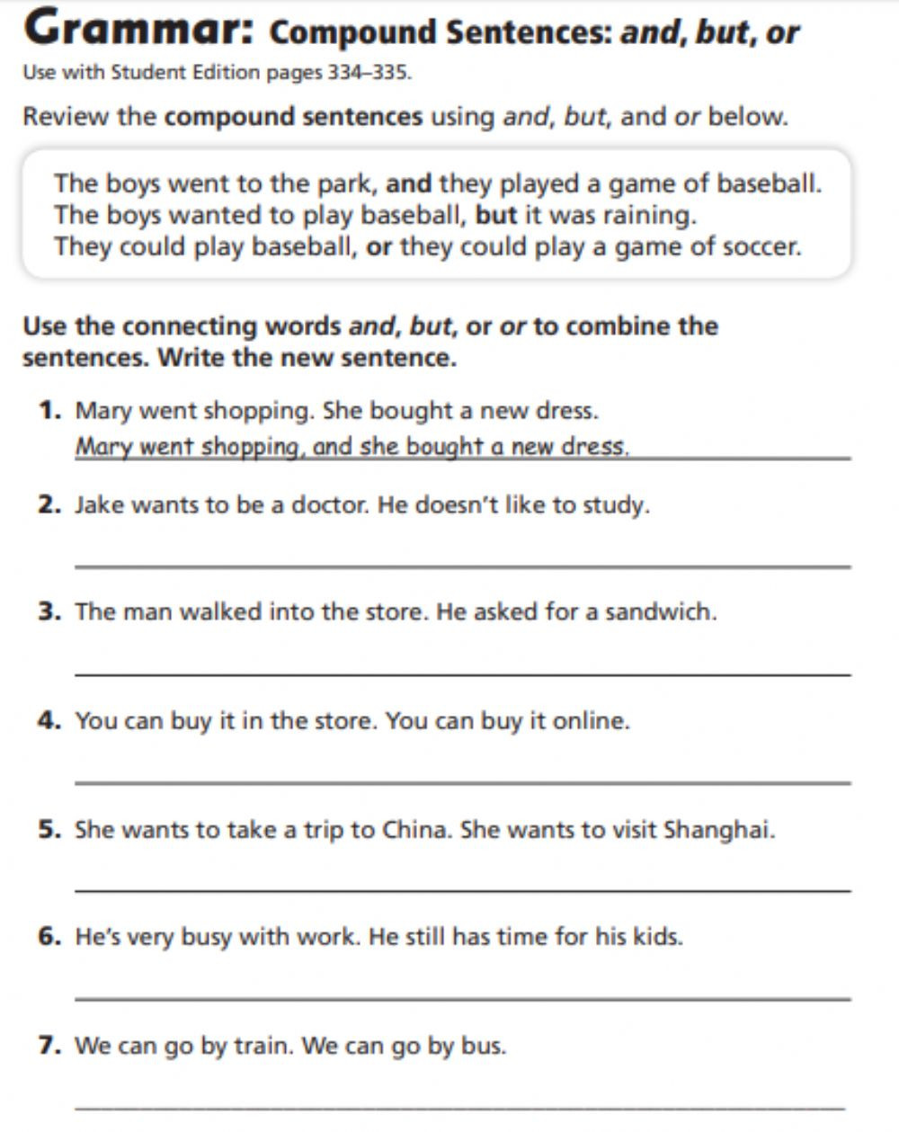 Compound Sentences Worksheet with Answers Pound Sentences Interactive Worksheet