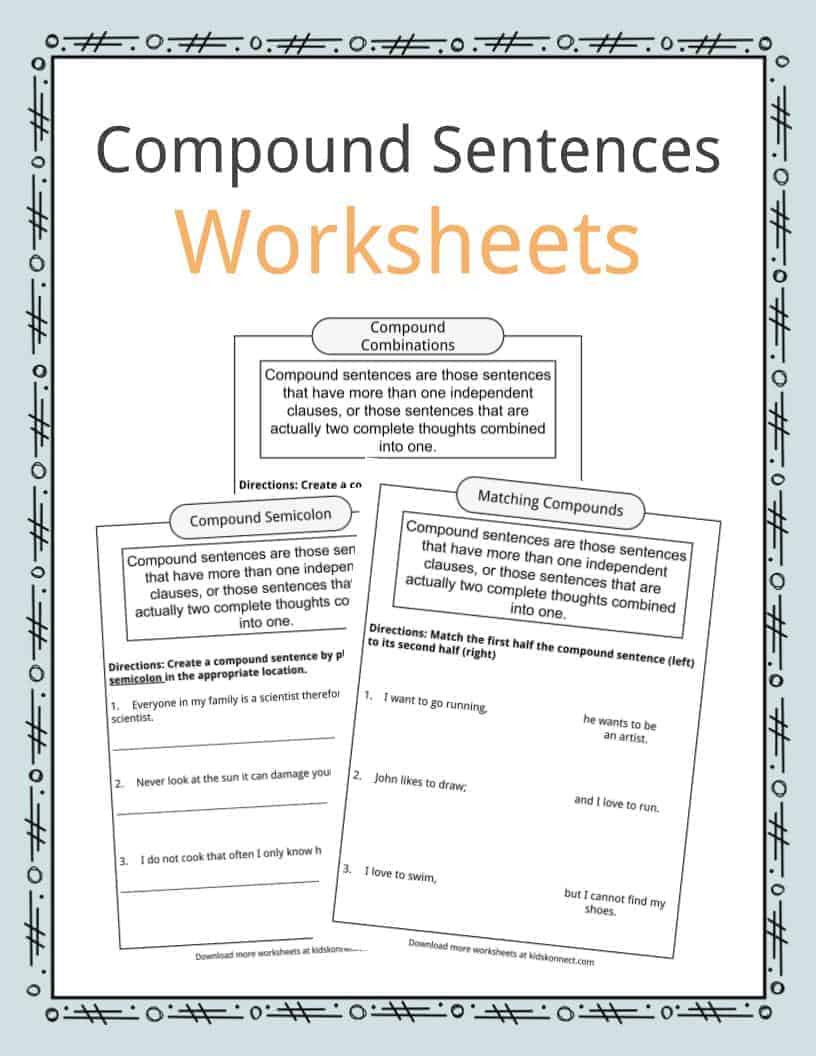 Compound Sentences Worksheet with Answers Pound Sentences Worksheets Examples & Definition for Kids