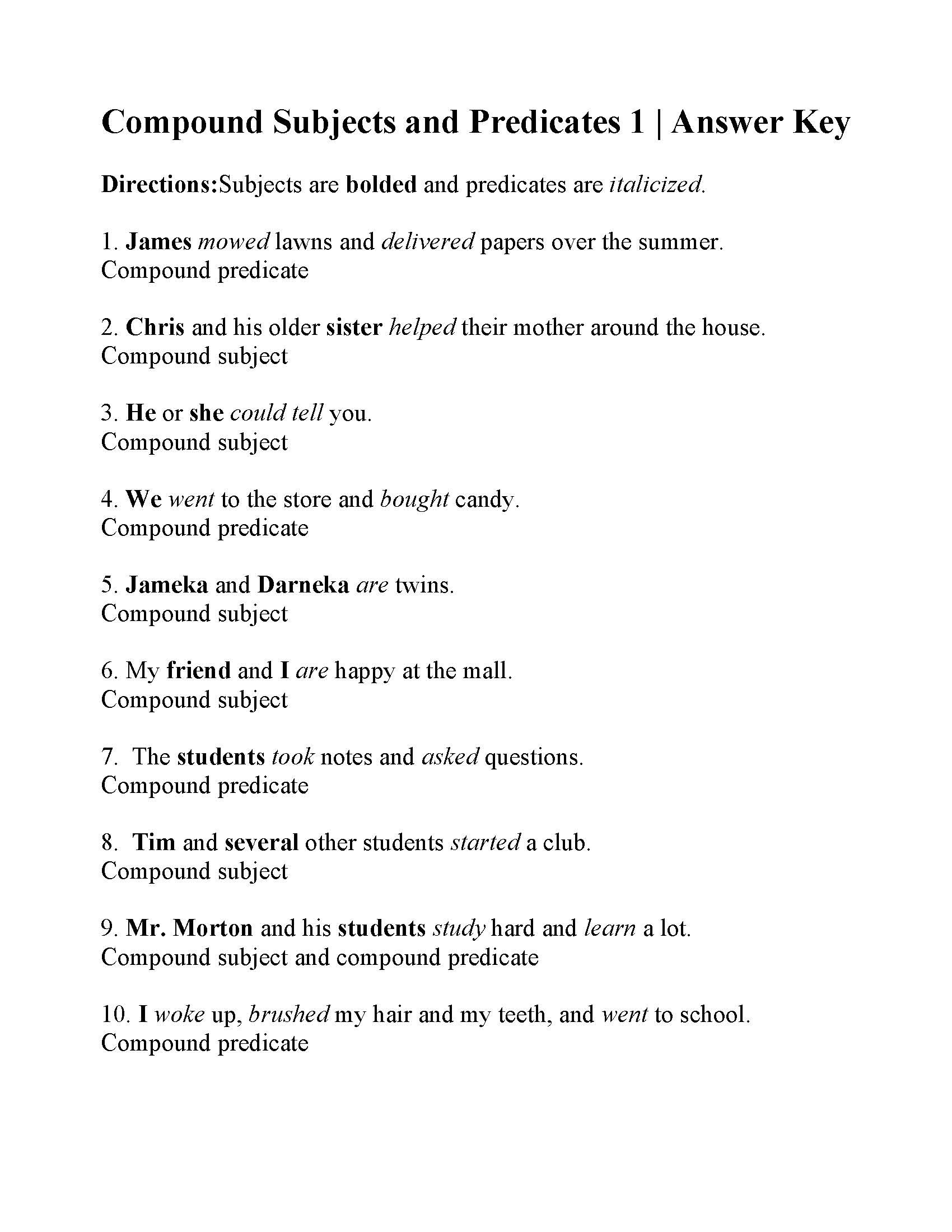 Compound Sentences Worksheet with Answers Pound Subjects and Predicates Worksheet