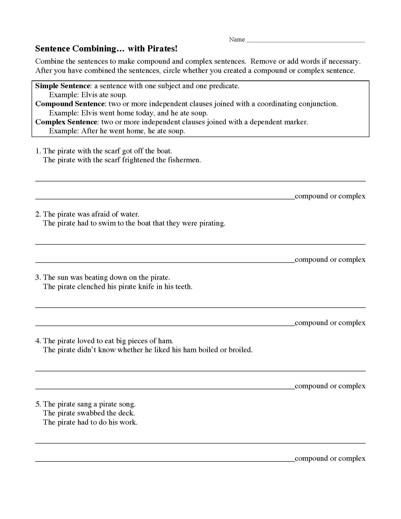 Compound Sentences Worksheet with Answers Sentences Bining with Pirates Worksheet