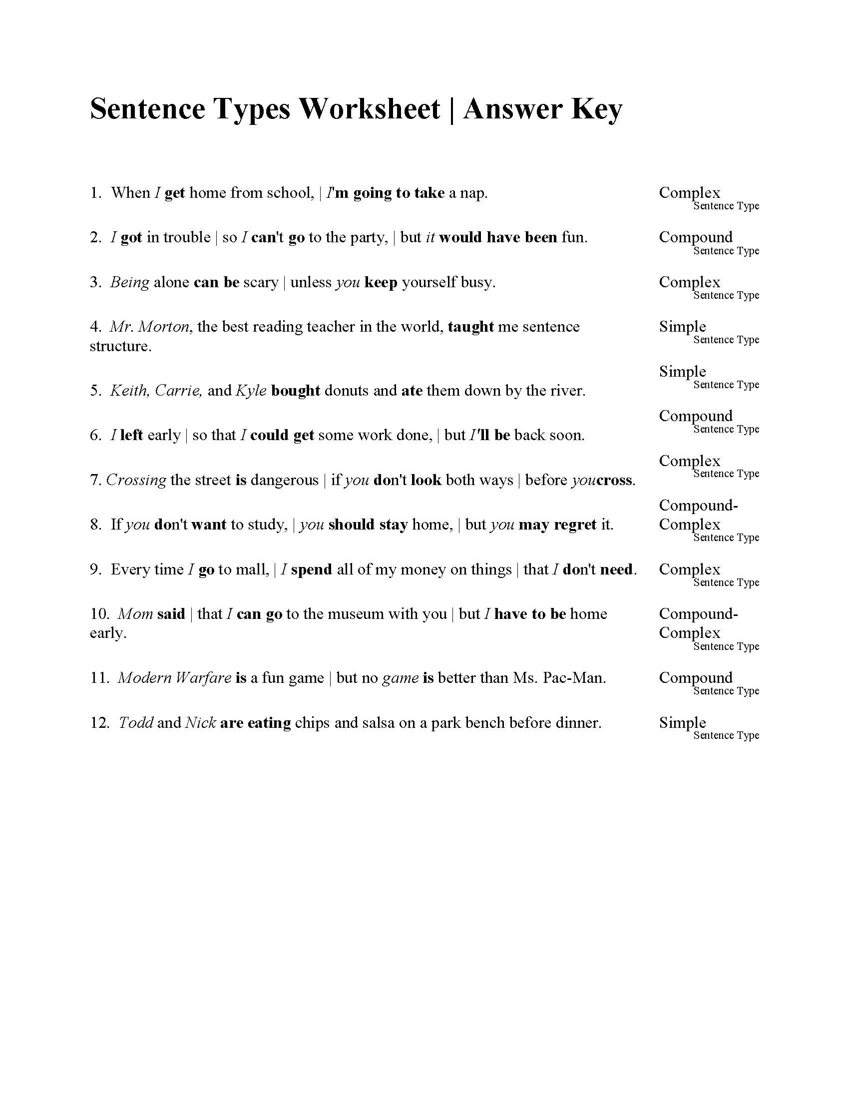 Compound Sentences Worksheet with Answers Sentences Types Worksheet