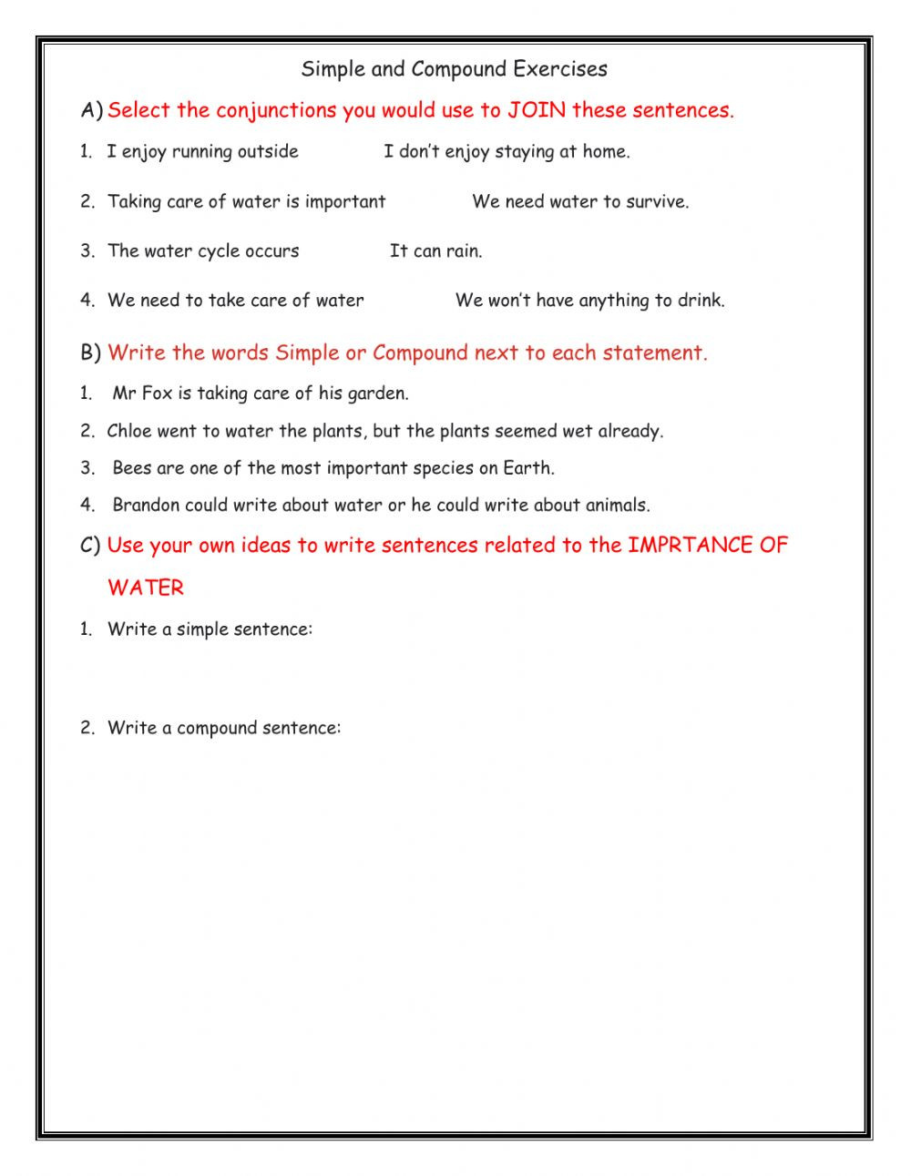 Compound Sentences Worksheet with Answers Simple and Pound Sentences Interactive Worksheet