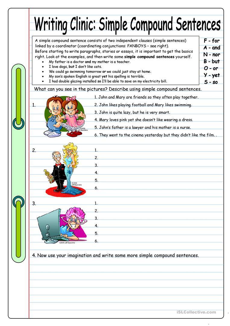 Compound Sentences Worksheet with Answers Writing Clinic Simple Pound Sentences English Esl