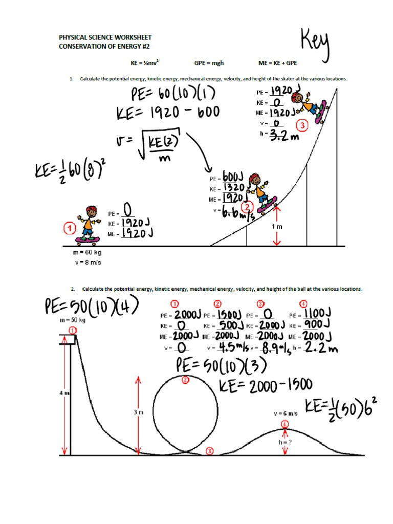 Conservation Of Energy Worksheet Answers Conservation Of Energy Calcs Key
