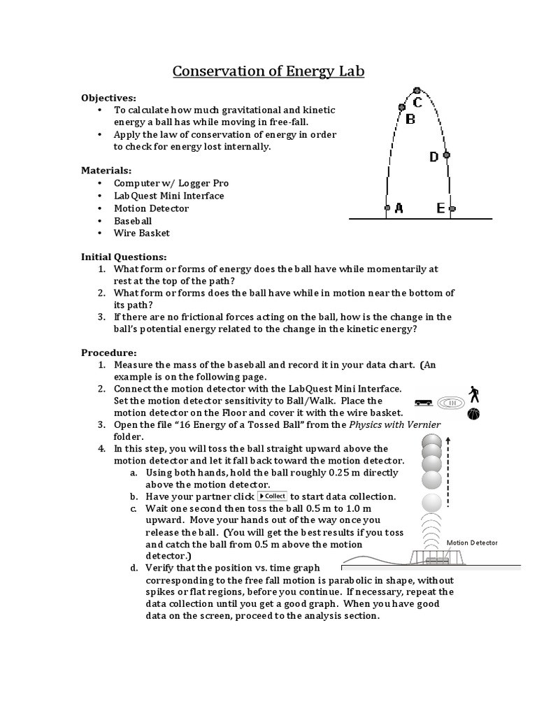 Conservation Of Energy Worksheet Answers Conservation Of Energy Lab Kinetic Energy