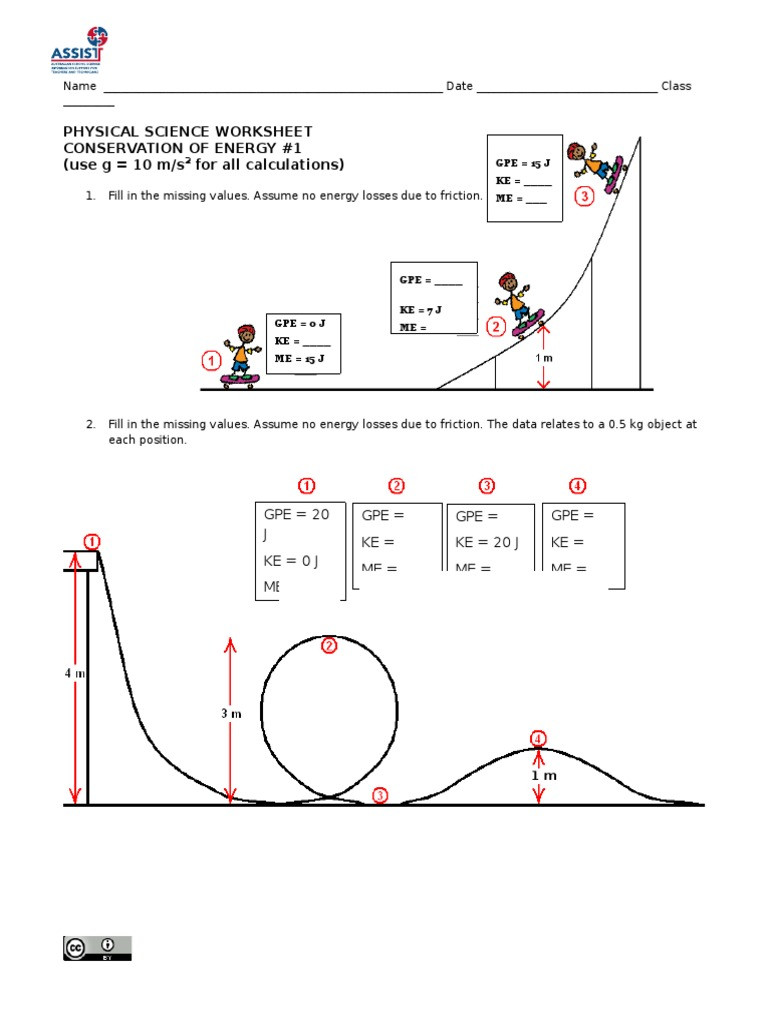 Conservation Of Energy Worksheet Answers Conservation Of Energy Worksheet 1 1 Potential Energy