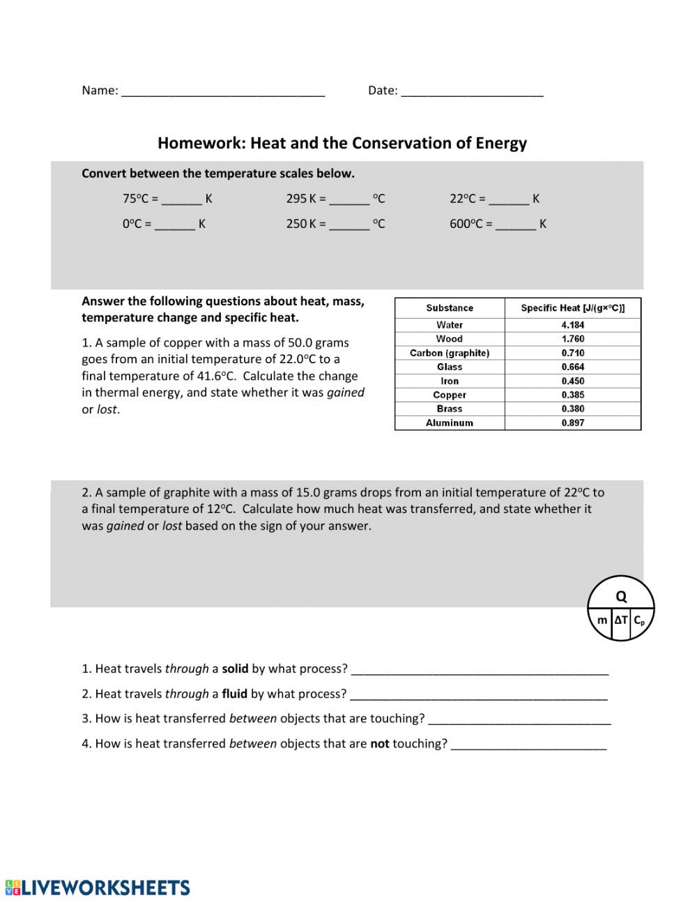 Conservation Of Energy Worksheet Answers Heat & Law Of Conservation Of Energy Interactive Worksheet