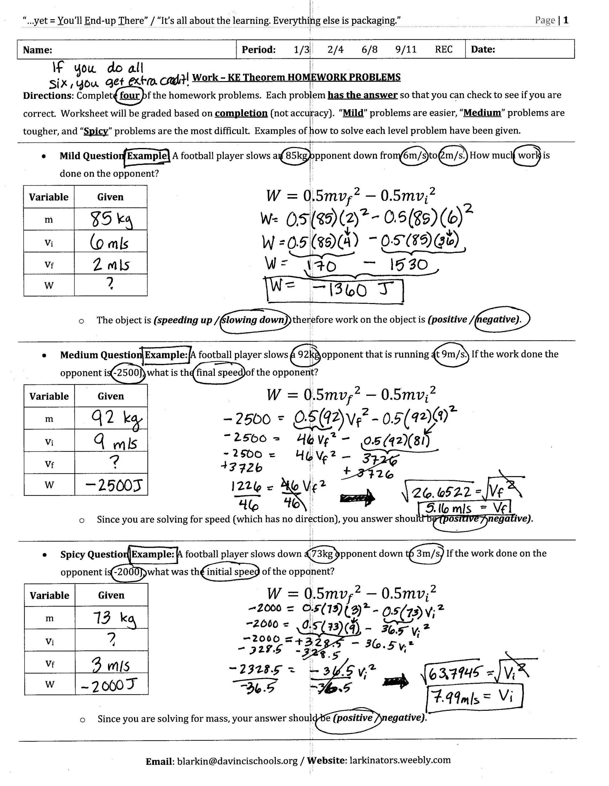 Conservation Of Energy Worksheet Answers Old Unit 3 Energy Larkin S School Site