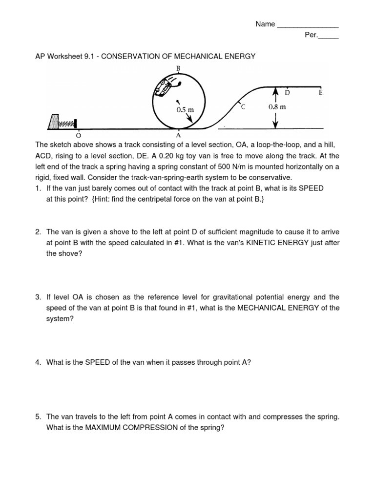Conservation Of Energy Worksheet Answers Ws09 1 1 Speed