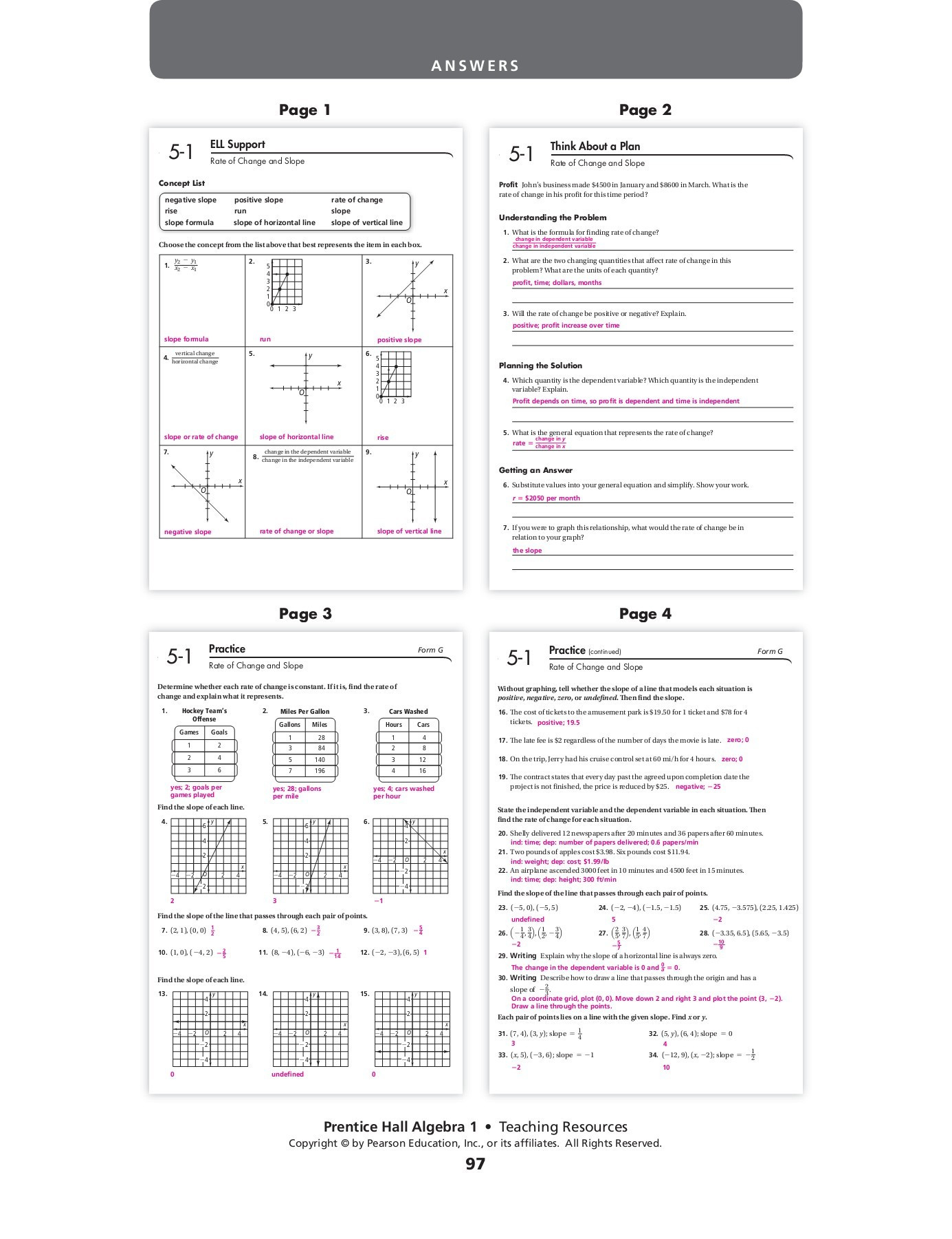 Constant Rate Of Change Worksheet Chapter 5 Workbook Answers Pages 1 24 Text Version