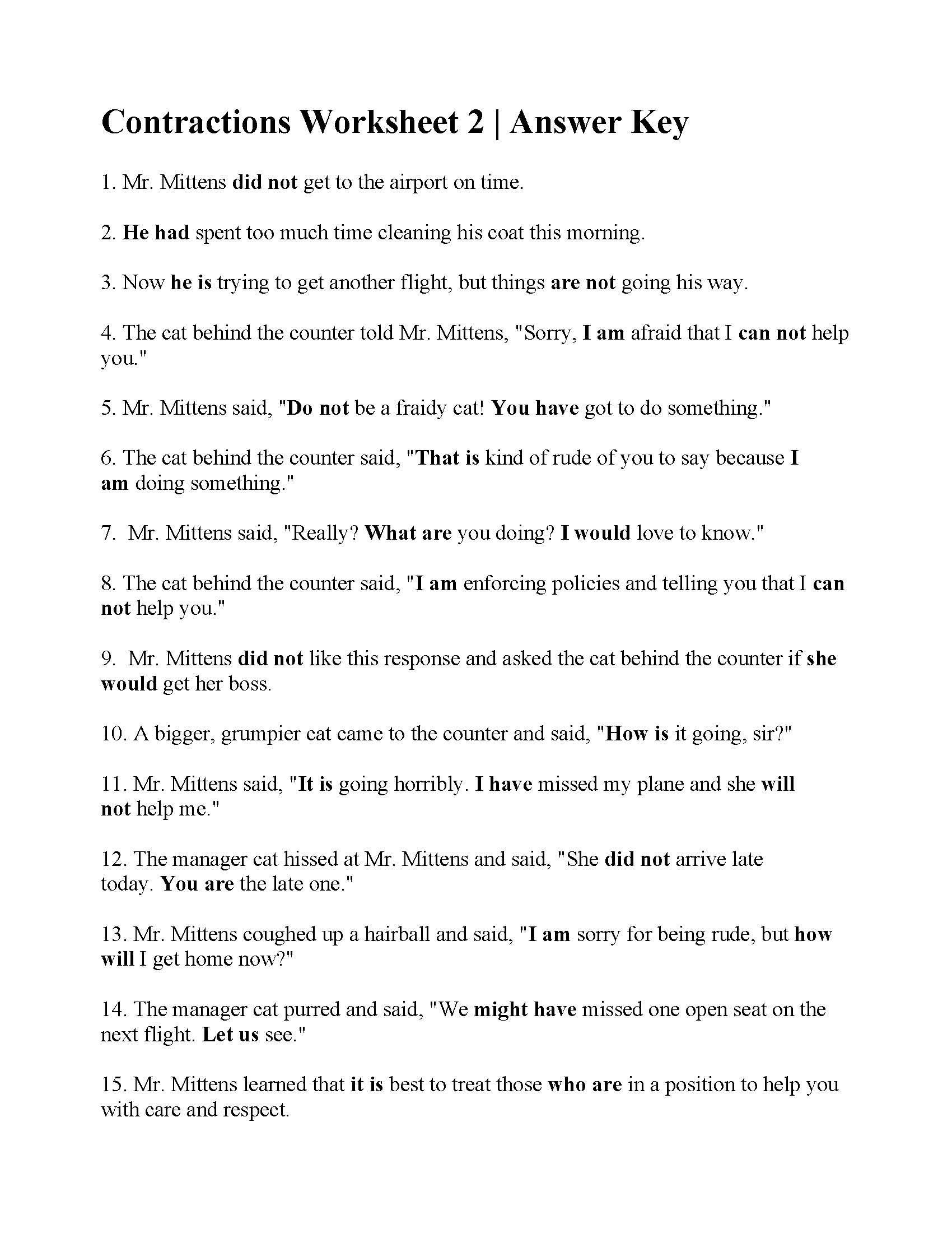 Contractions Worksheet 2nd Grade Contractions Worksheet 2