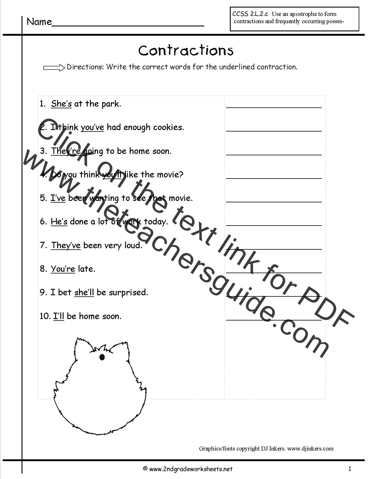 Contractions Worksheet 2nd Grade Free Contractions Worksheets and Printouts