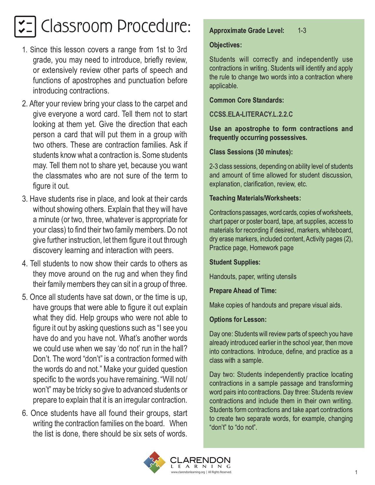 Contractions Worksheet 3rd Grade Contractions