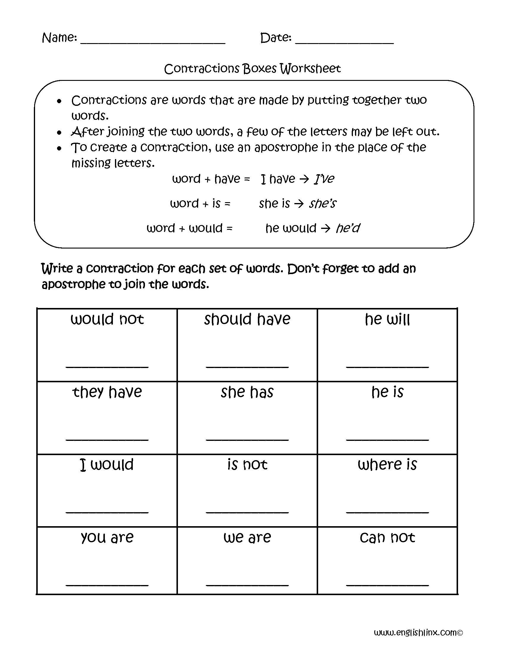 Contractions Worksheet 3rd Grade Contractions with Not Worksheet
