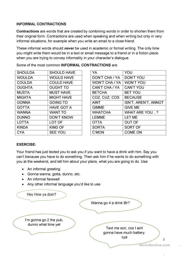 Contractions Worksheet 3rd Grade Informal Contractions Worksheet Free Esl Printable