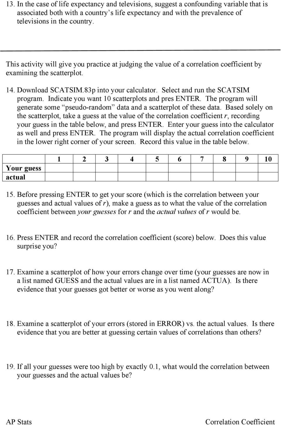 Correlation Vs Causation Worksheet Name Look Back On the Nine Scatterplots From the Previous