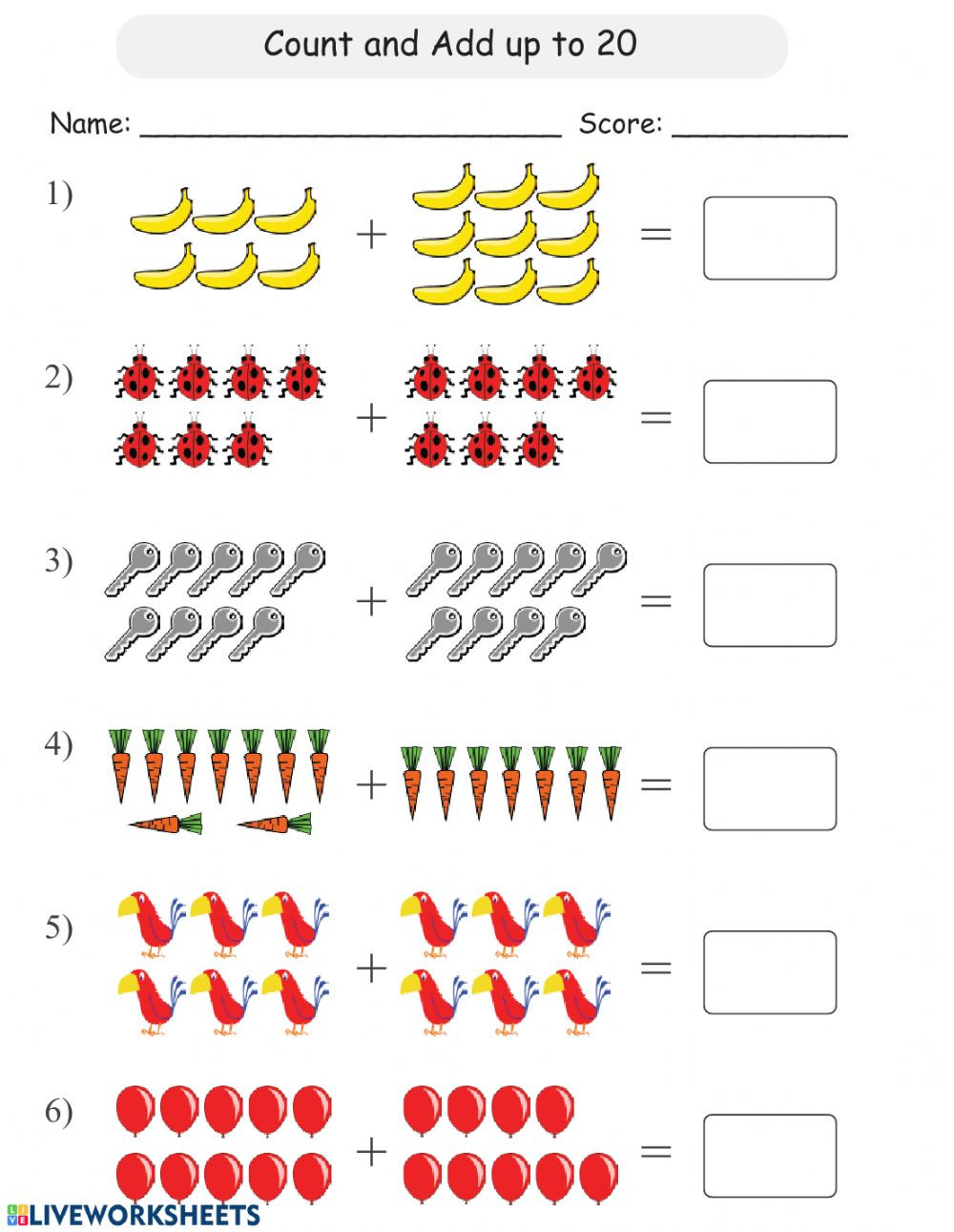 Counting to 20 Worksheet Count and Add Up to 20 Interactive Worksheet