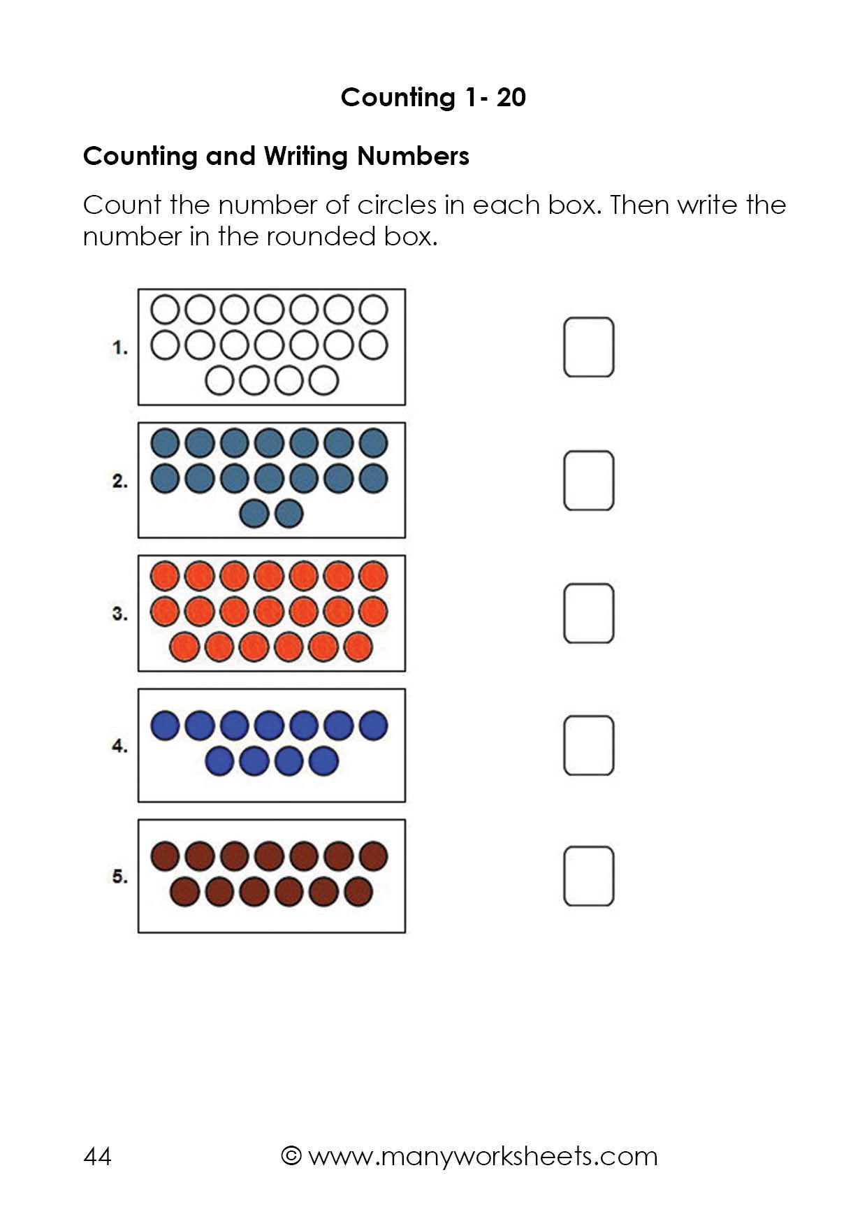 Counting to 20 Worksheet Counting Dots to 20 and Writing Numbers