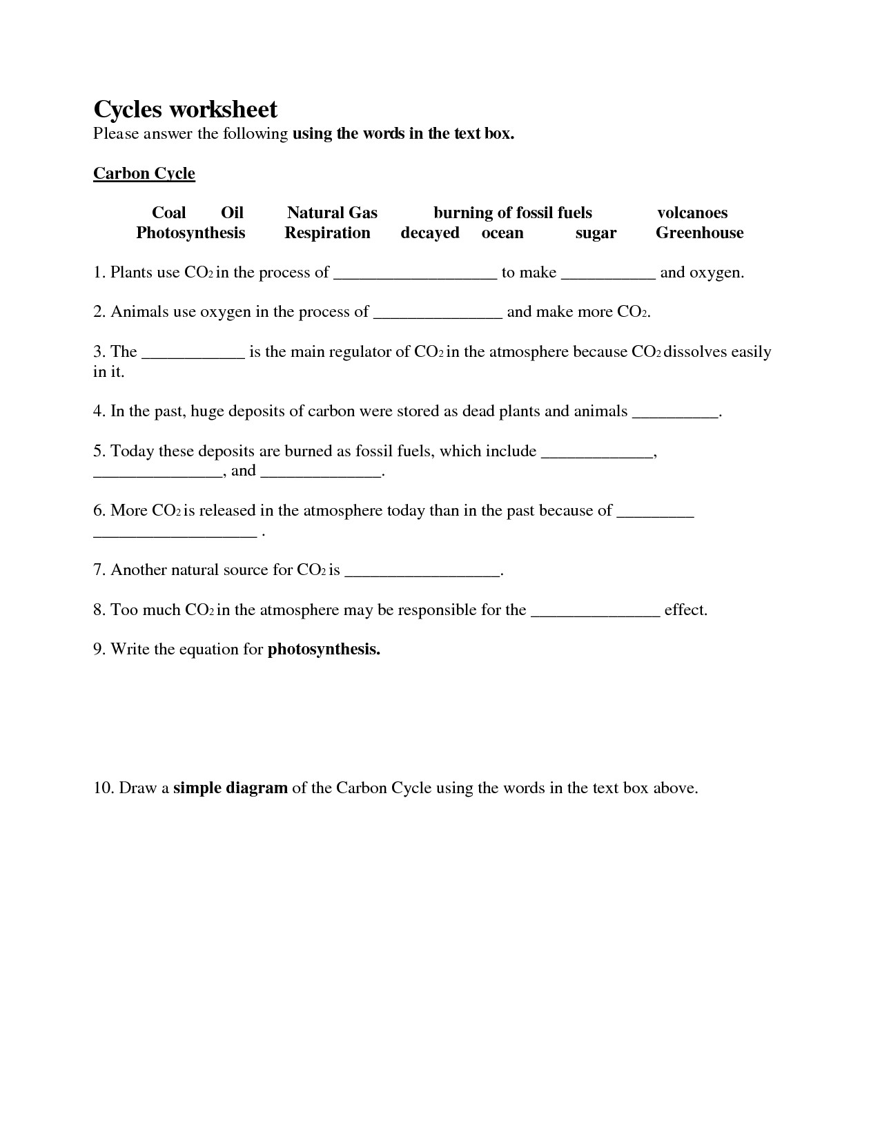 Cycles Worksheet Answer Key Nutrient Cycle Worksheet