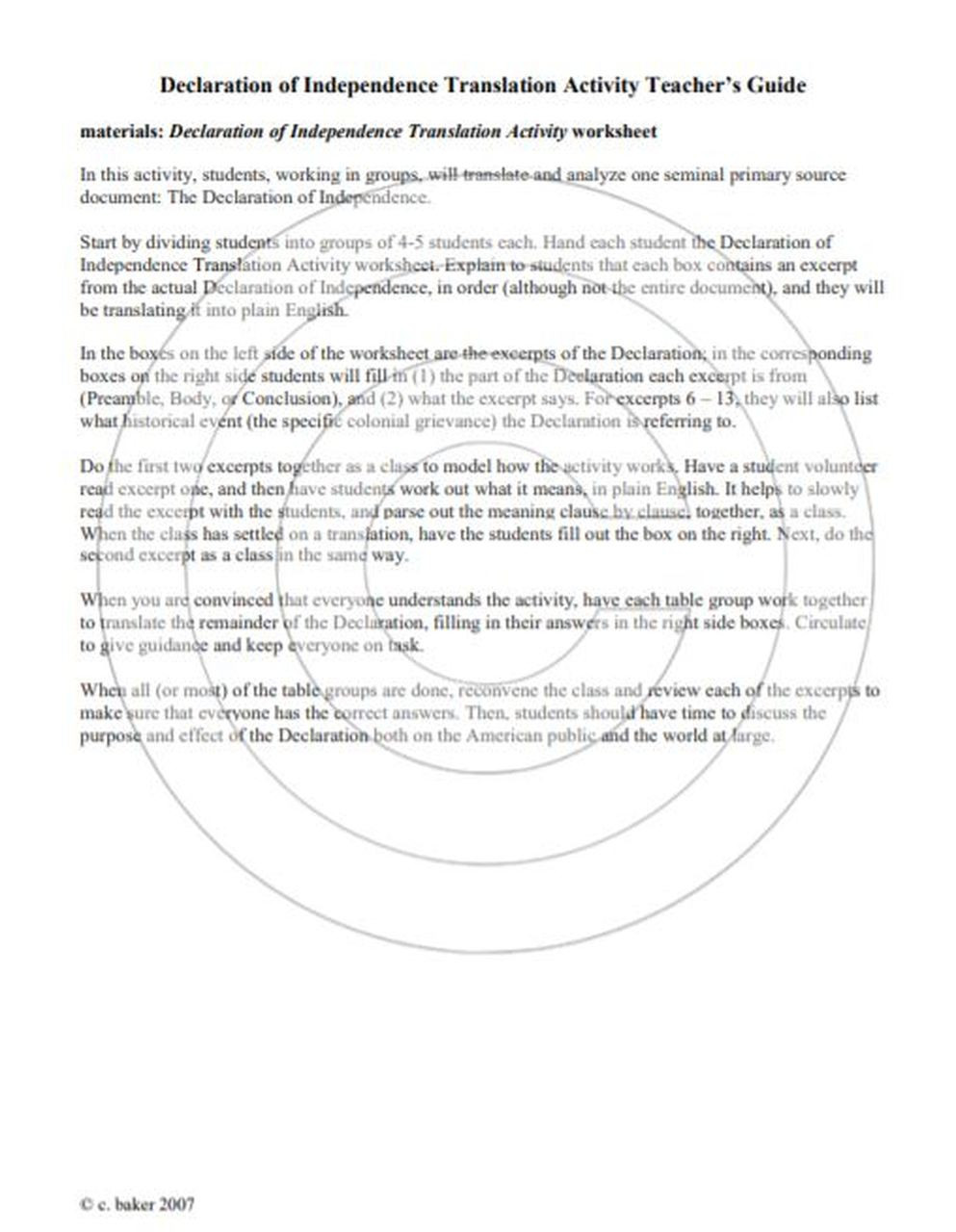 Declaration Of Independence Worksheet Answers Declaration Of Independence Primary source Translation and Analysis Activity