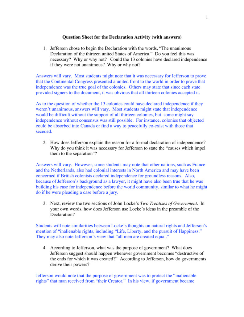 Declaration Of Independence Worksheet Answers Fresh Declaration Independence Worksheet High School