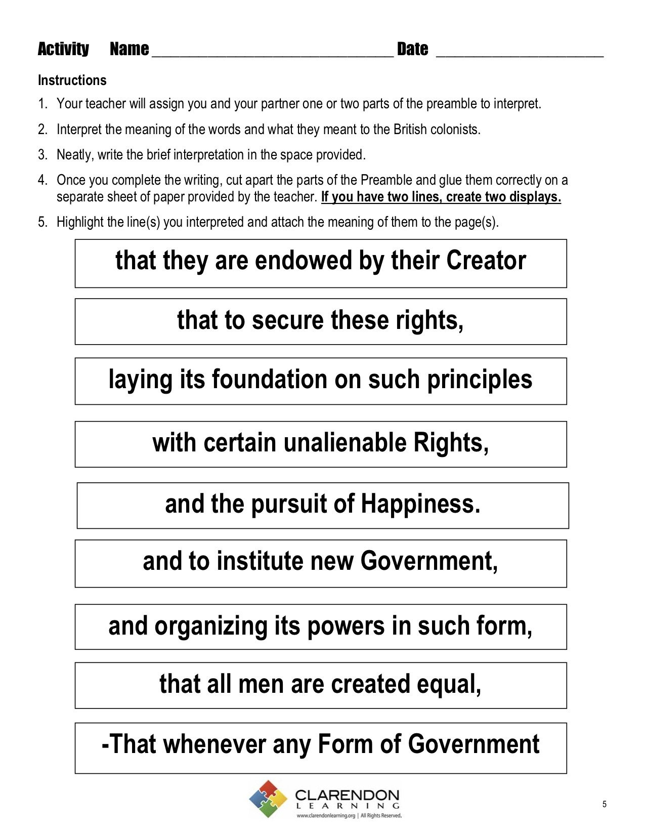 Declaration Of Independence Worksheet Answers the Declaration Of Independence