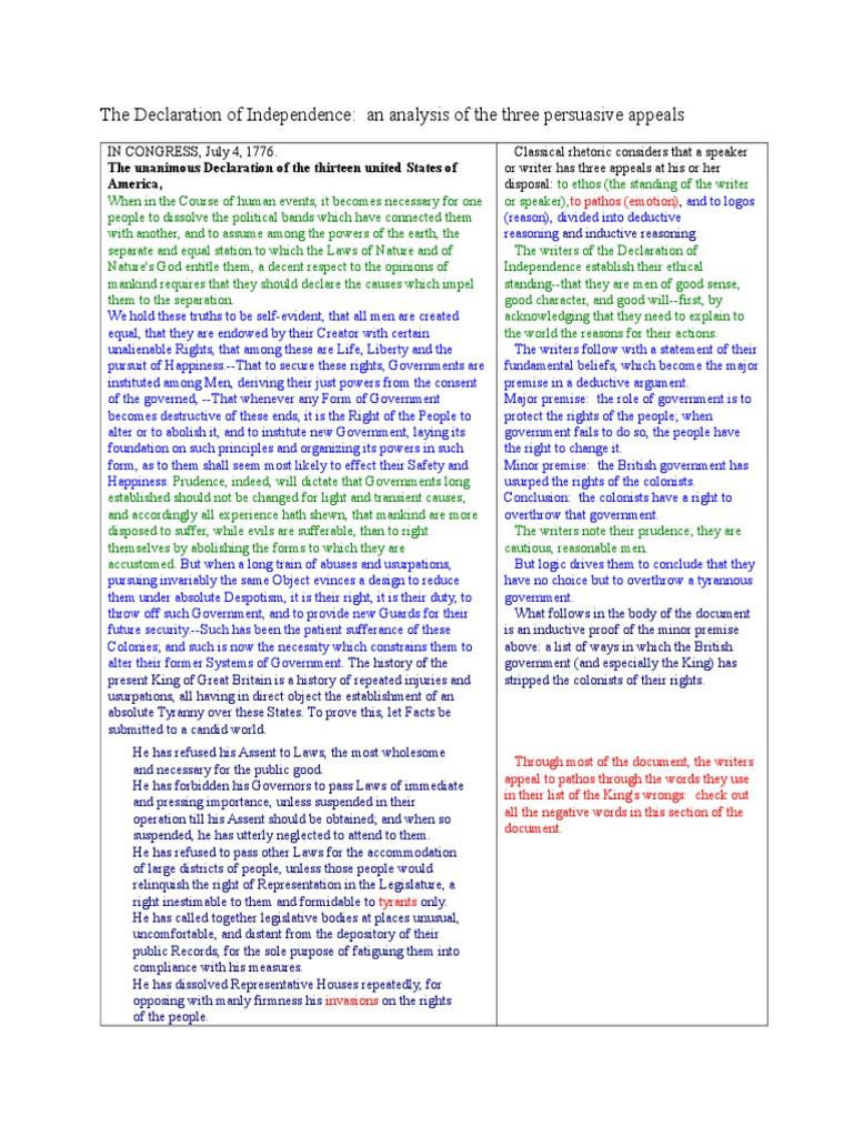 Declaration Of Independence Worksheet Answers the Declaration Of Independence Rhetorical and Ethos Pathos