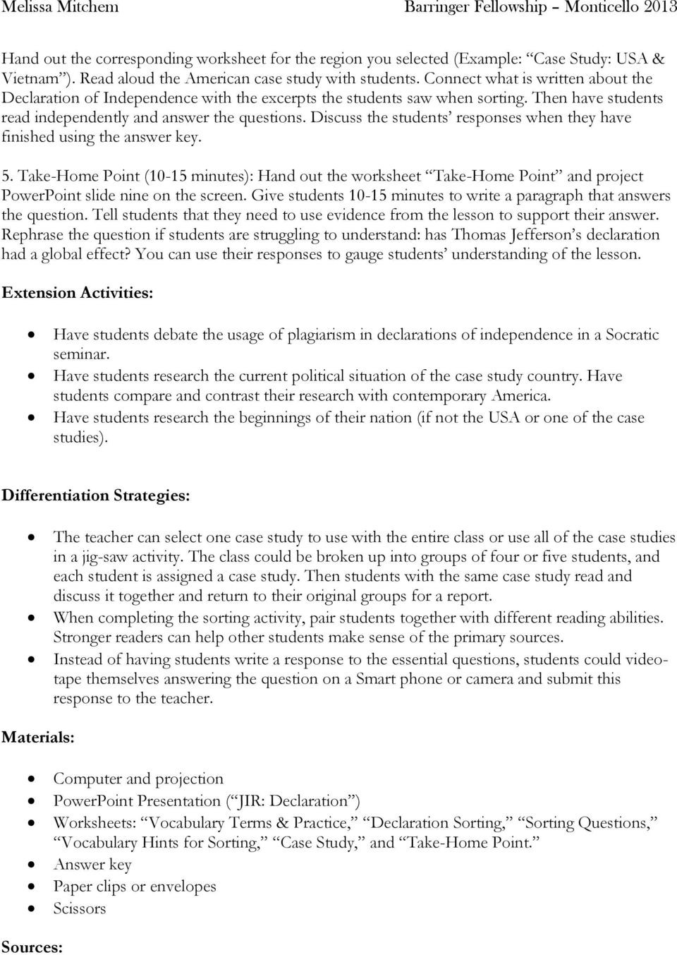 Declaration Of Independence Worksheet Answers Understanding the Declaration Independence Worksheet