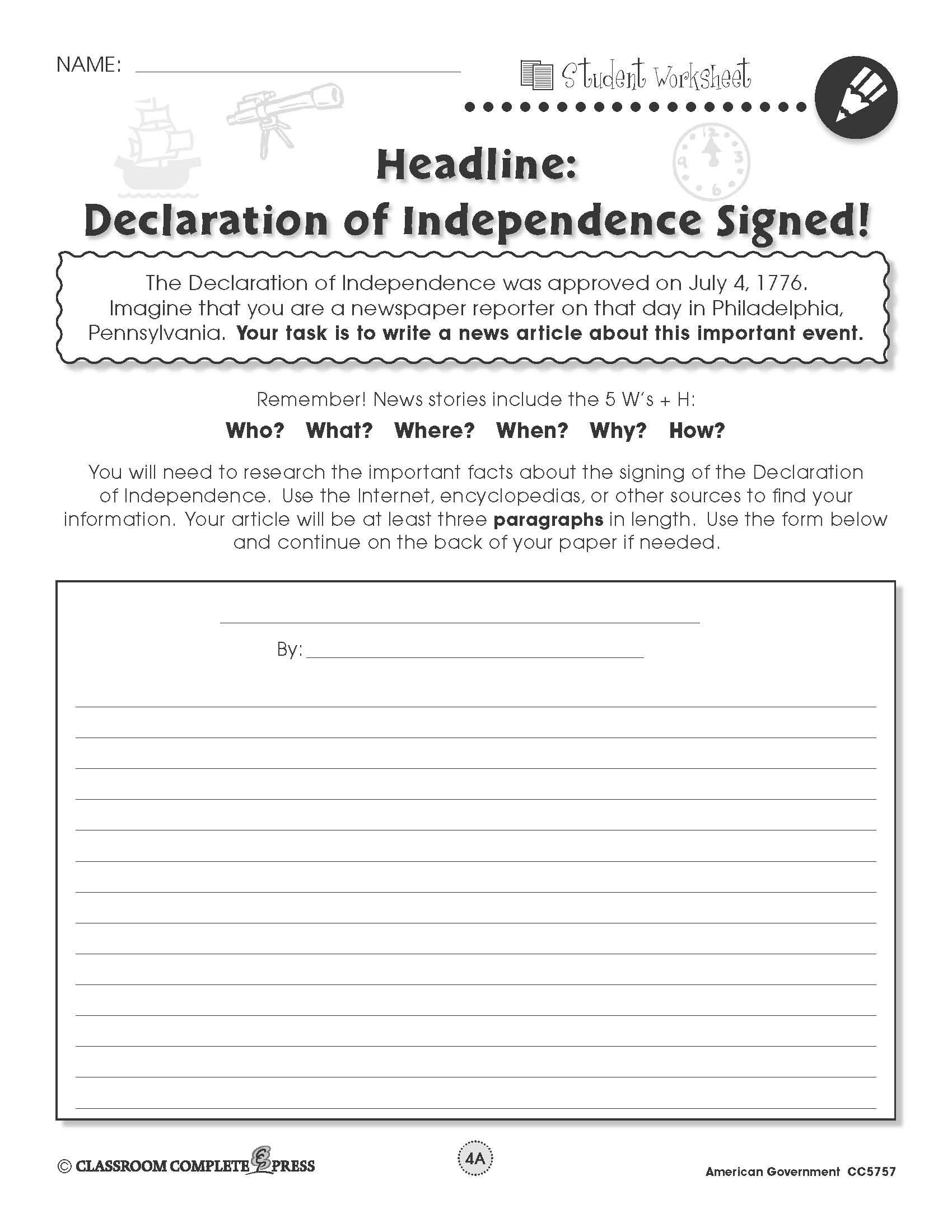 Declaration Of Independence Worksheet Answers Write A Newspaper Article About America S Signing Of the