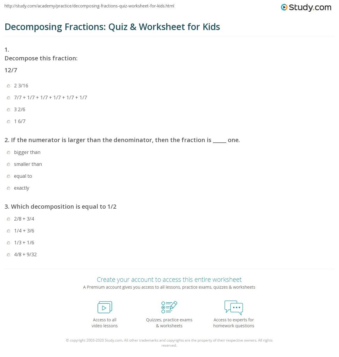 Decomposing Fractions 4th Grade Worksheet De Posing Fractions Worksheet