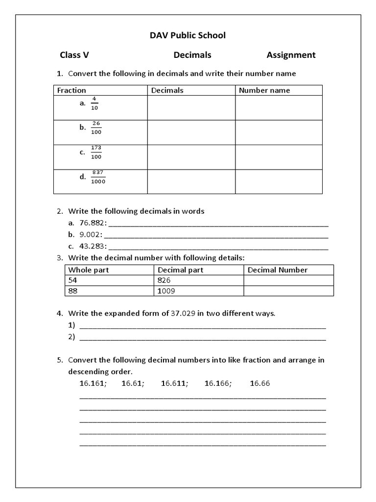 Decomposing Fractions 4th Grade Worksheet Decimals assignment Class 5 Decimal