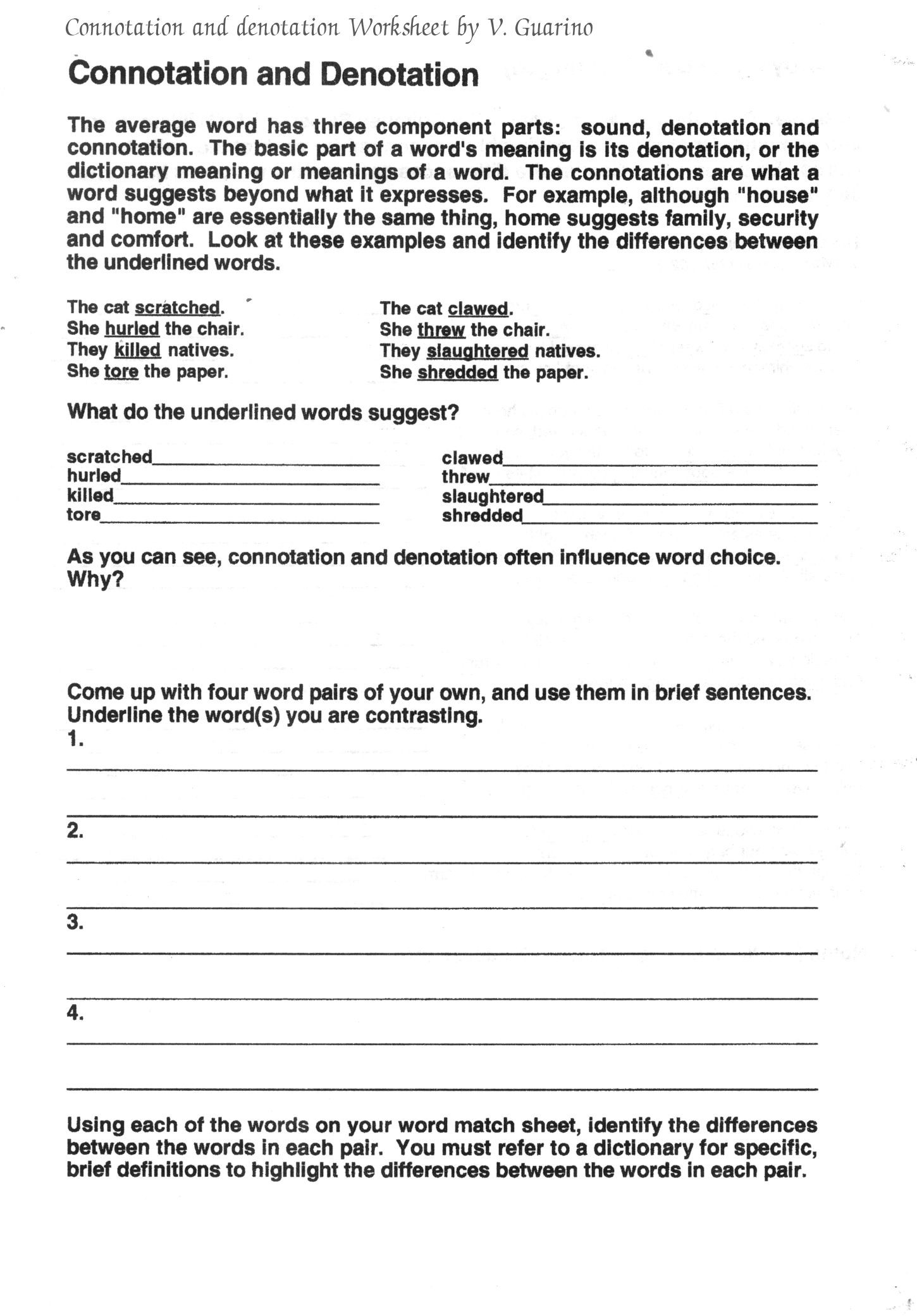 Denotation and Connotation Worksheet Connotation and Denotation Worksheets for Middle School