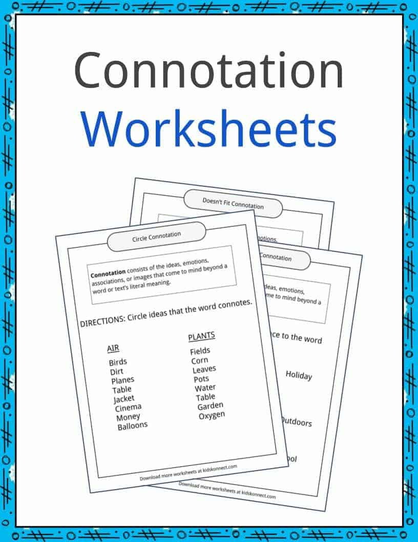 Denotation and Connotation Worksheet Connotation Examples Definition and Worksheets