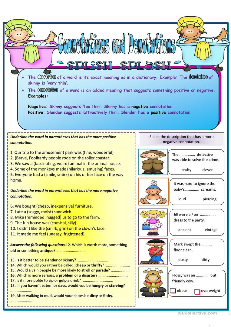 Denotation and Connotation Worksheet Connotations and Denotation English Esl Worksheets for