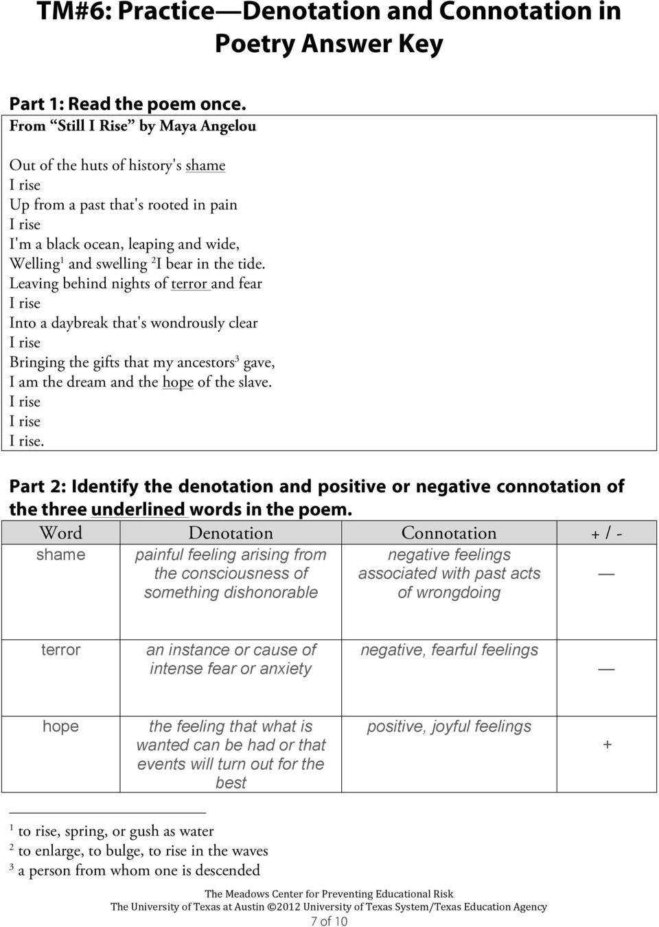 Denotation and Connotation Worksheet Denotation & Connotation Writing Module Teacher Masters