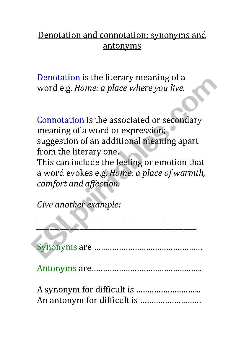 Denotation and Connotation Worksheet Denotation and Connotation Esl Worksheet by Fpistemummy