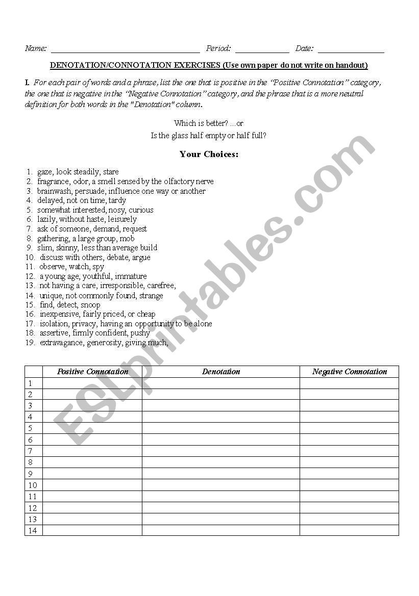 Denotation and Connotation Worksheet English Worksheets Connotation Denotation Worksheet