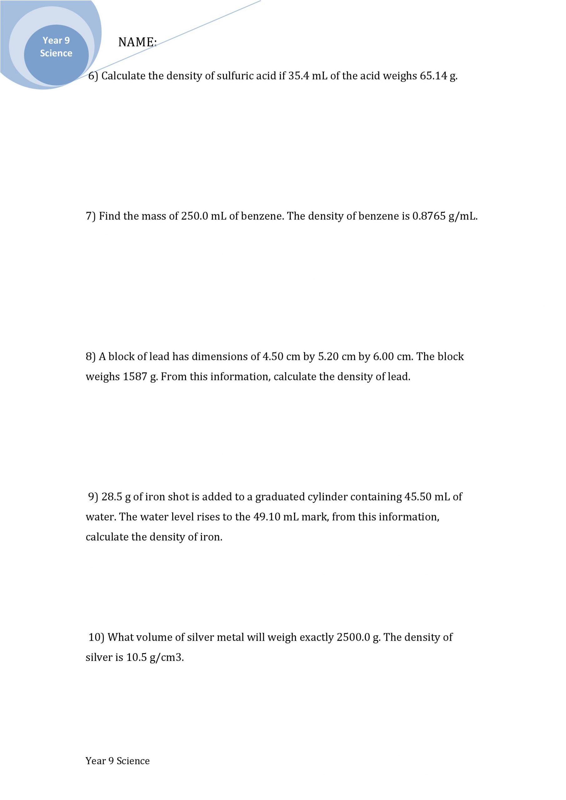 Density Calculations Worksheet 1 Density Practice Problem Notes
