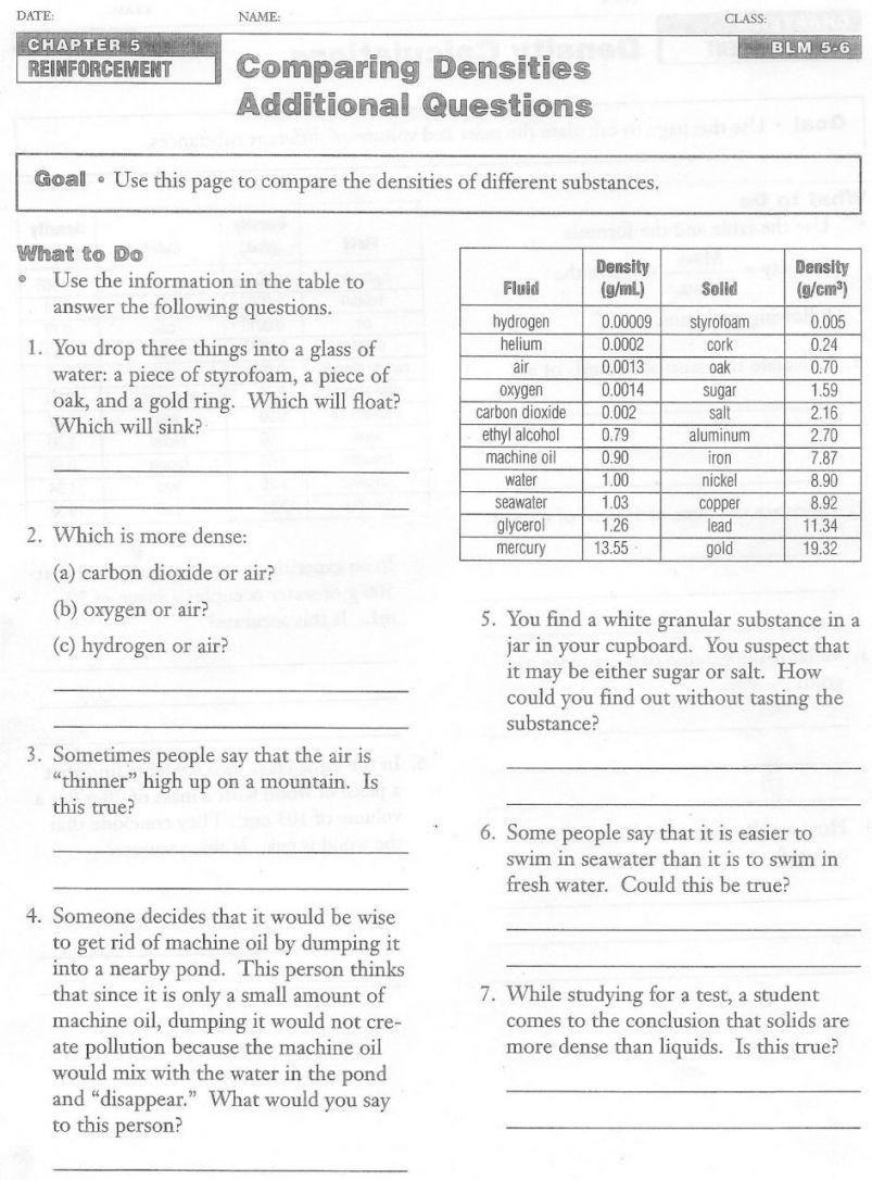 Density Calculations Worksheet Answer Key Density Calculations Worksheet 1 Nidecmege