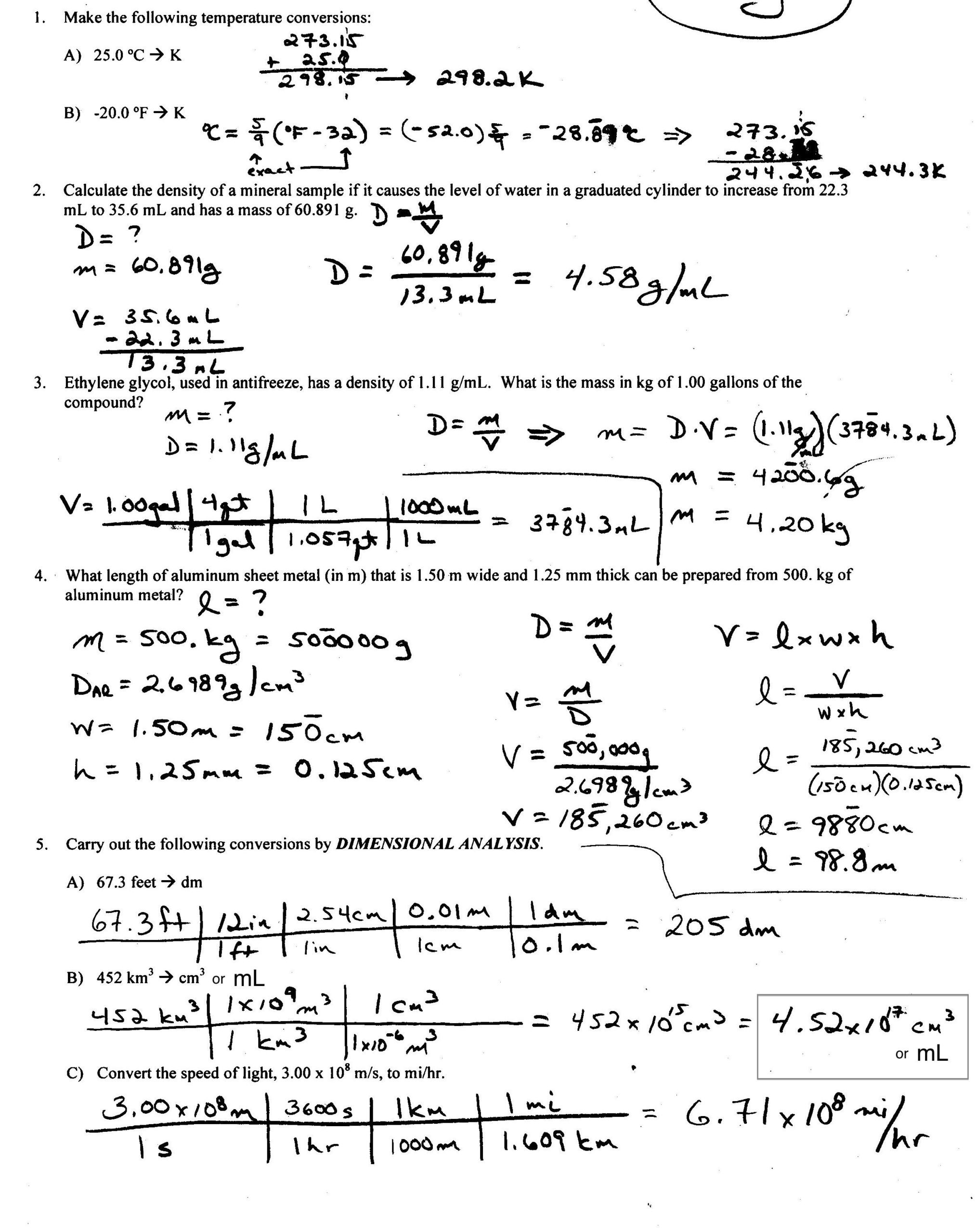 Density Calculations Worksheet Answer Key Density Worksheet with Answers Calculate Worksheets Answer